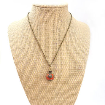 Red Pendant Necklace - Indonesian Clay Bead - Orange Red - Bronze Chain Necklace - Handmade Bohemian Necklace
