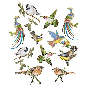 Hoomall 1PCs Bird Patches Stripes Clothing Embroidered Iron-On Applications Patches Applique Stickers For Clothes Badges