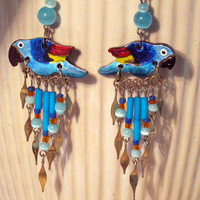 Parrot Earrings Colorful Macaw Handmade in Limited Edition