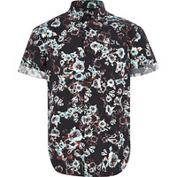 River Island Boys black floral print shirt