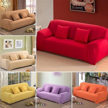 16 Solid color Fashion Spandex Stretch Slipcover Big Elasticity Couch Cover Loveseat Sofa Furniture Cover Pillowcase soft confor