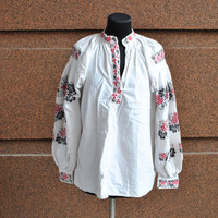 Antique Ukrainian Vyshyvanka Traditional Ukrainian Embroidered Women's Blouse Shirt Vyshyvanka Rustic decor 30s Traditional Hand Embroidery