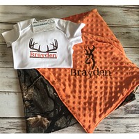 2 piece camo deer baby gift set
