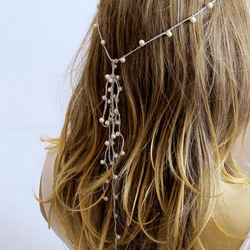 crochet Headpiece, pearl Headband, Wedding hairband, Hair Piece, Bridal Accessories, Boho Headband, Women, Bridesmaids, girls headband,