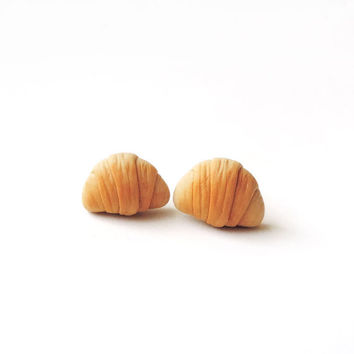 Little Croissant Stud Earrings Polymer Clay Food Jewelry