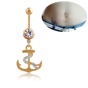 New Charming Dangle Crystal Navel Belly Ring Bling Barbell Button Ring Piercing Body Jewelry = 4651258244