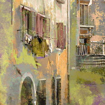 Venice Washday In Earth Tones Print By Suzanne Powers