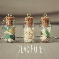Mini Glass Bottles with Mixed Shells Necklace