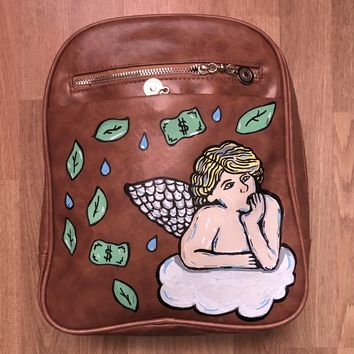 """Guardian Money Angel"" Light Brown Mini Book Bag"