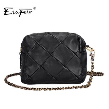 ESUFEIR Brand Genuine Leather Women Messenger Bag Patchwork Sheepskin Leather Chain Shoulder Bag Small Women Crossbody Bag