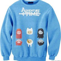 Adventure Time Finn Princess Bubblegum Marceline Print Crew Neck Pullover Sweater in Blue | DOTOLY