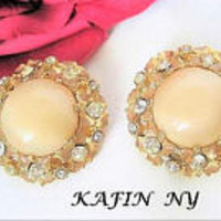 Kafin NY Earrings, Off White Earrings, Moonstone Glass Cabachons, Clear Rhinestones, Book Piece