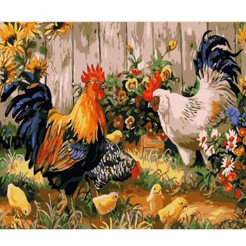 DIY PBN Chickens Arcylic Painting By Numbers On Canvas Framed Wall Pictures Art For Living Room Home Decoration