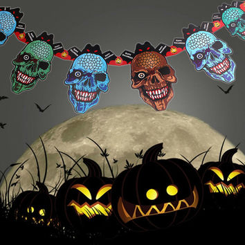 2016 Cool Paper Chain Garland Halloween Paper Decorations Pumpkin Ghost Skull Shape Halloween Props For Halloween Party