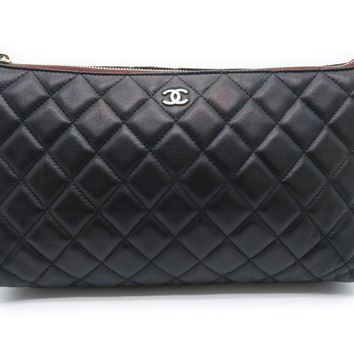 Chanel Quilted Lambskin Leather Clutch Bag Purse Black 1828