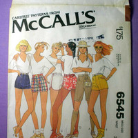 "Retro 70's Hot Pants, Short Shorts, High Waist, Bermuda Shorts McCall's 6545 Misses' Size 12 Waist 26 1/2"" Vintage 1970's Sewing Pattern"