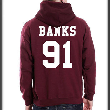 Banks 91 White ink printed on back Unisex Pullover Hoodie S to 3XL