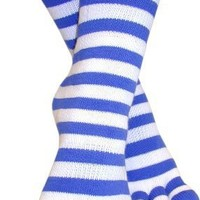 Feelmax Basic Cotton Toe Socks Blue/White Stripe Ladies Shoe Size 5 - 8