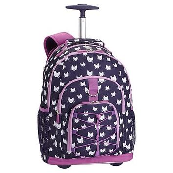 Gear-Up Dark Purple Kitten Rolling Backpack