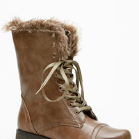 Doll House Faux Leather Furry Boots