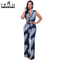 Long Navy White Print Button Front Belted Jumpsuit