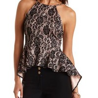 Bonded Lace High-Low Peplum Top by Charlotte Russe - Blush Combo