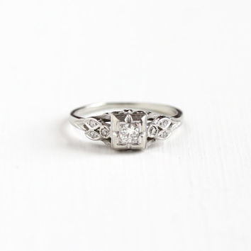 Vintage 14k White Gold .16 CTW Diamond Ring - 1940s Size 6 1/2 Engagement Wedding Promise Fine Leaf Motif Jewelry