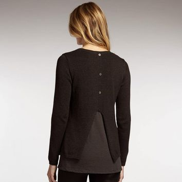 Layered Button Back Pullover