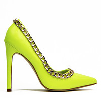 CHARM SCHOOL PATENT PUMP - NEON YELLOW
