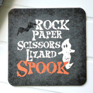 Rock Paper Scissors Lizard Spook Halloween Paper Coasters - Set of 10 | Big Bang Theory | Geeky, Nerdy, Decorations, Physicist, Scientist