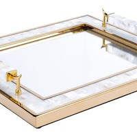 Tray With Horn Handlee White