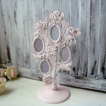 Pink Vintage Godinger Photo Tree, Silver Plate Rose Photo Stand, Shabby Chic Photo Tree, Light Pink Frames, Cottage Chic, Gift Ideas