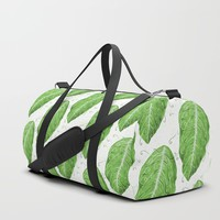 Swirly Green Leaf Pattern Duffle Bag by borianagiormova