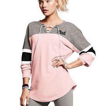 ESBONS PINK Victoria's secret Women Casual Tunic Shirt Top Blouse Sweatshirt