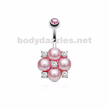 Pink Pearl and Crystals Clustered 316L Surgical Steel Belly Button Navel Rings 14ga