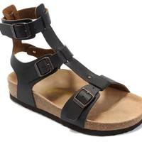 Birkenstock Summer Women's Fashion Leather Cork Flats Women's Casual Sandals/black