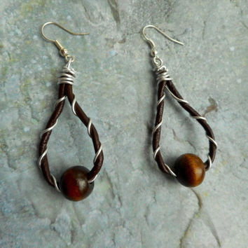 Homemade earrings / dark brown genuine leather / wood beads / chocolate / women's jewelery / handmade jewelry / drop hoop