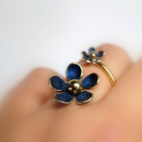 Iris blue daisy adjustable ring , Sterling silver daisy ring , Gold plated brass ring , Spring ring , Easter ring , Blue ring , open ring
