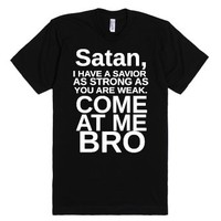 Come At Me Satan Blk-Unisex Black T-Shirt