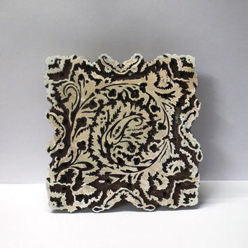 Pottery Stamp wooden hand carved textile printing fabric block / stamp Deep groove bold UNIQUE carving design Large sized pattern