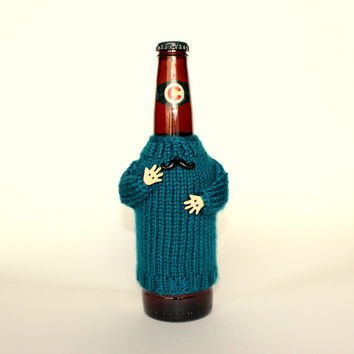 Beer coozie. Knit bottle sleeve. Teal bottle cozy. Black mustaches. Beer koozie. Beer holder with arms. Colorado beer. Beer accessories