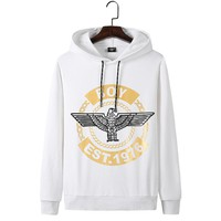 BOY LONDON autumn and winter new street fashion classic print hooded sweater white