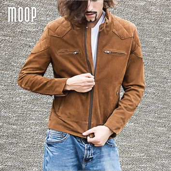 Brown genuine leather coat men quilted suede cow leather motorcycle jacket chaqueta moto hombre veste cuir homme cappotto LT1306