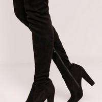 Missguided - Over The Knee Heeled Boots Black