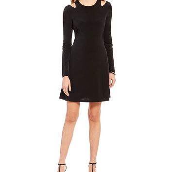 Ivanka Trump Lond Sleeve Cut-Out Shoulder Solid Matte Jersey A-Line Dress | Dillards