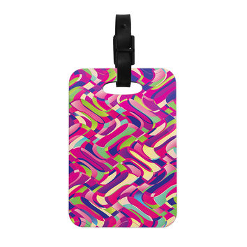 "Dawid Roc ""Colorful Movement"" Pink Abstract Decorative Luggage Tag"