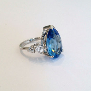 Vintage Sterling Silver Blue Tourmaline Estate Jewelry Ring