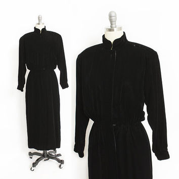 Vintage 1980s Dress - Albert NIPON Boutique Black Velvet Dress 80s - Small S