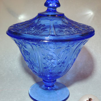 Vintage cobalt blue Pedestal Covered pressed glass candy compote