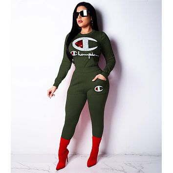Champion Hot Sale Women Casual Sequins Long Sleeve Top Pants Set Two-Piece Sportswear Green